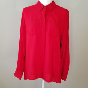 a.n.a Long Sleeved Hi-Lo Blouse - L - NWT
